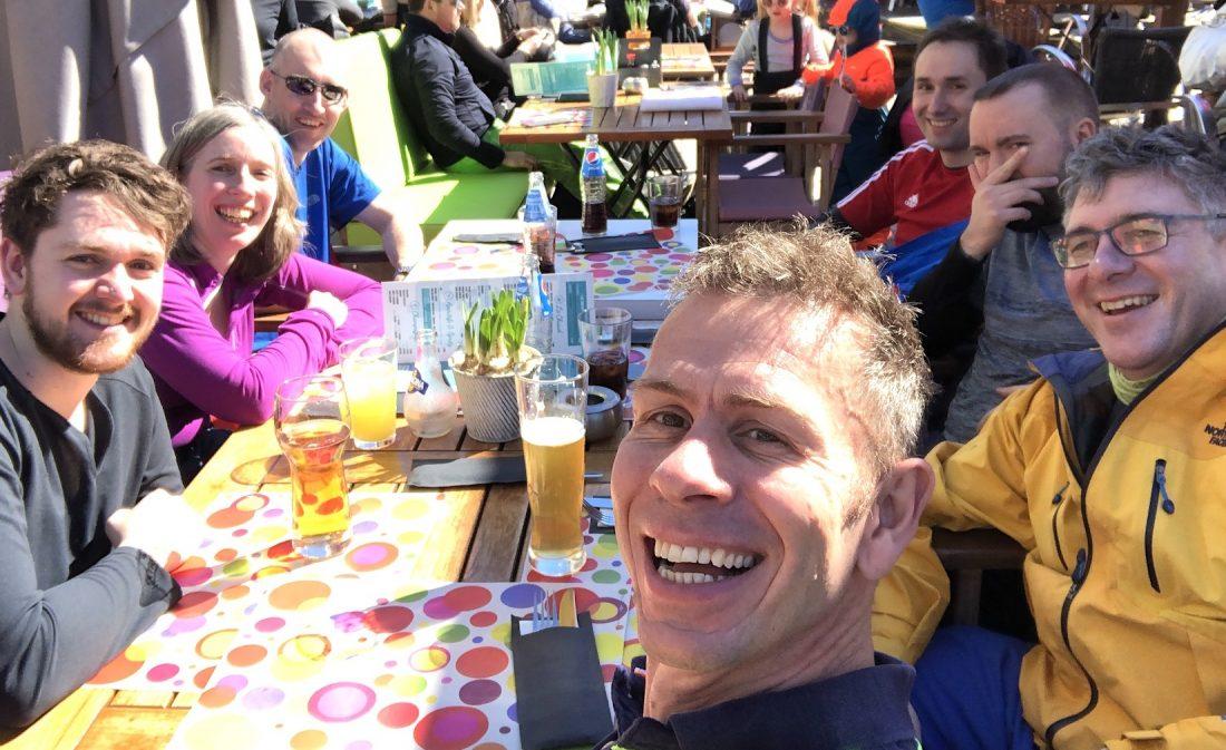 The PEP team enjoying the apres ski on the slopes of Morzine