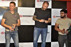 The top three on the podium following the PEP Mini Grand Prix