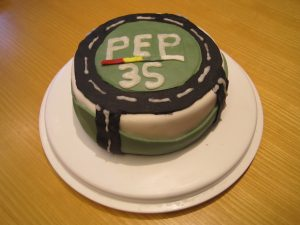 The winning entry from Lewis celebrating the 35th Anniversary of PEP